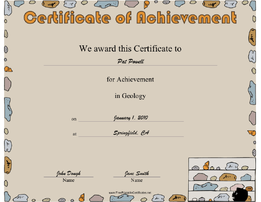 Geology certificate
