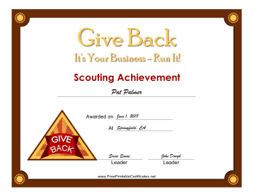 Give Back Badge certificate