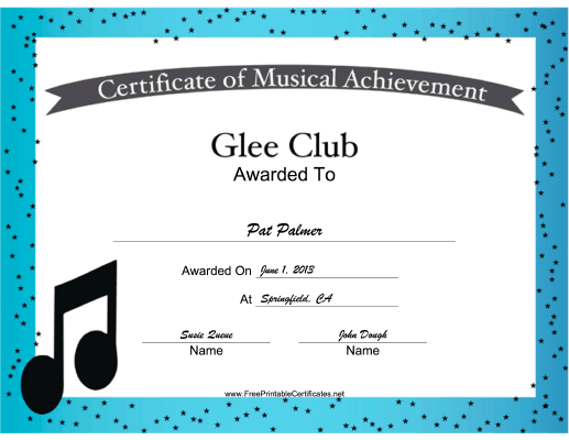 Glee Club Vocal Music certificate