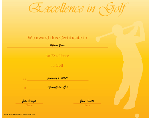 Excellence in Golf certificate
