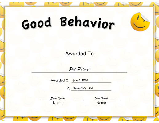 Yellow Good Behavior certificate