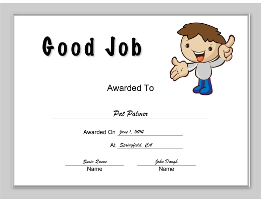 Good Job certificate