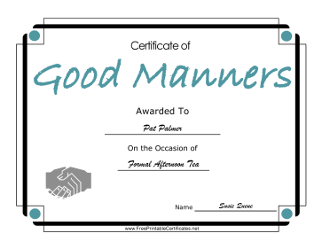 Good Manners certificate