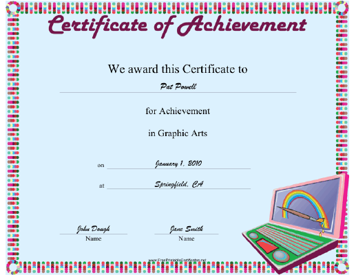 Graphic Arts certificate