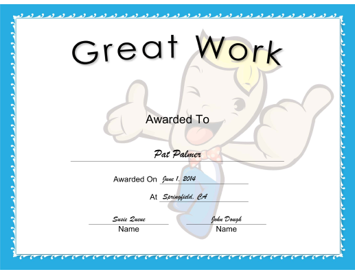 Great Work certificate