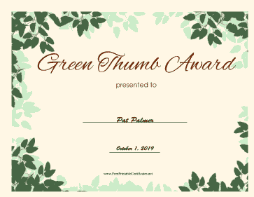 Green Thumb Award certificate