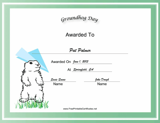 Groundhog Day Holiday certificate
