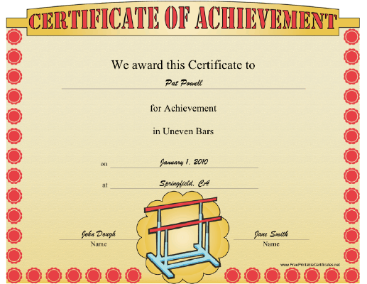 Gymnastics Uneven Parallel Bars certificate