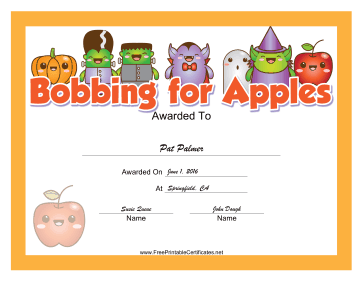 Halloween Bobbing for Apples certificate