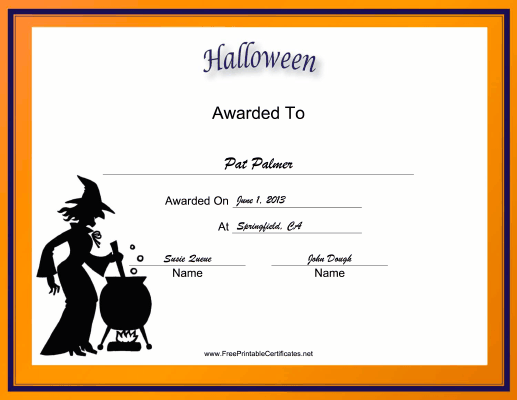 Halloween Holiday certificate