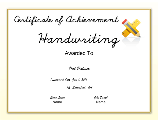 Handwriting Achievement certificate