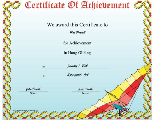 Hang Gliding certificate