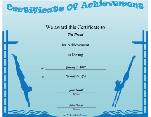 High Diving certificate
