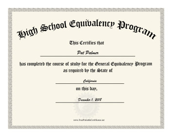 High School Equivalency Diploma certificate