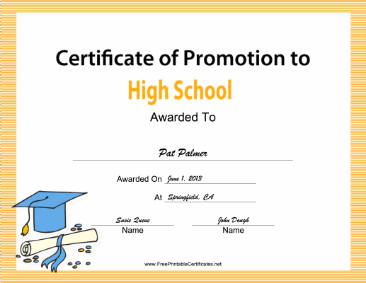 High School Promotion certificate