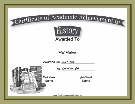 History Academic certificate