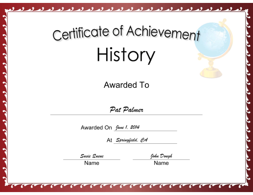 History Achievement certificate