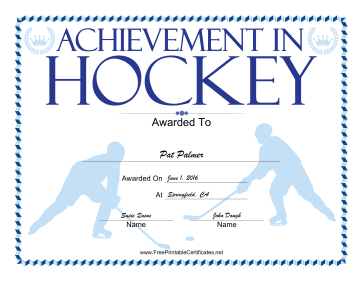 Hockey certificate