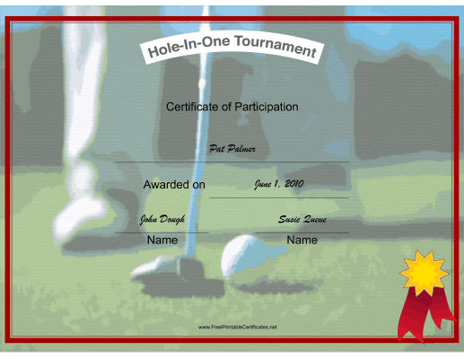 Hole in One Participant certificate