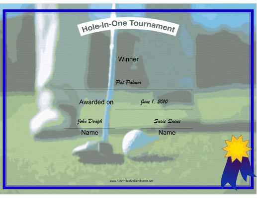 Hole in One Winner certificate