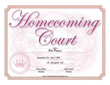 Homecoming Court Certificate Girl certificate
