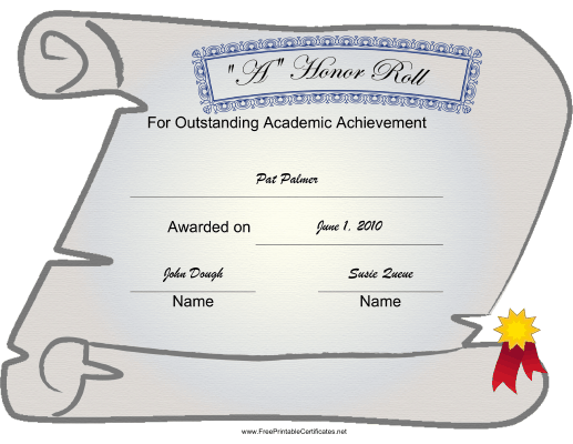 A Honor Roll certificate