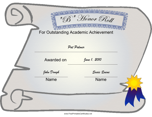 B Honor Roll certificate