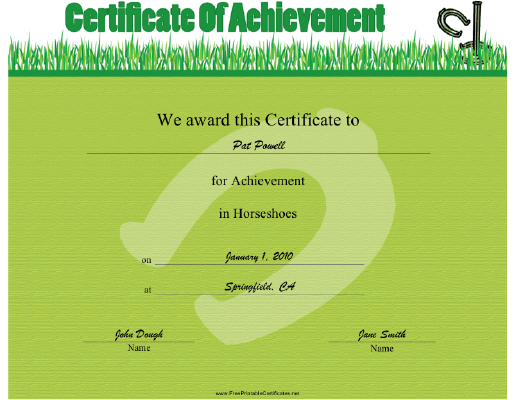 Horseshoes certificate