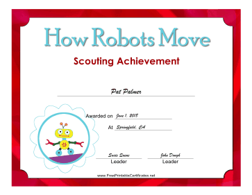 How Robots Move Badge certificate
