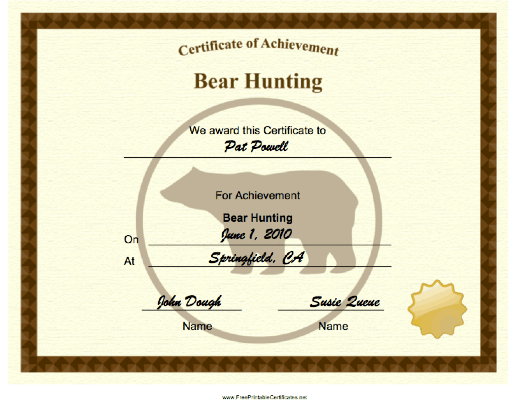 Hunting Bear Achievement certificate