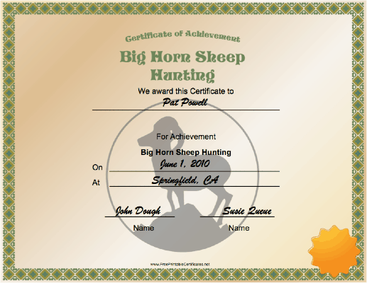 Hunting Big Horn Sheep Achievement certificate