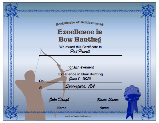 Hunting Bow Achievement certificate