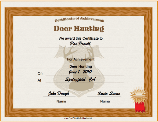 Hunting Deer Achievement certificate