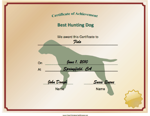 Hunting Dog Achievement certificate