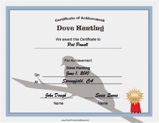 Hunting Dove Achievement certificate