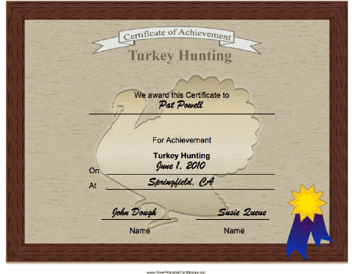 Hunting Turkey Achievement certificate