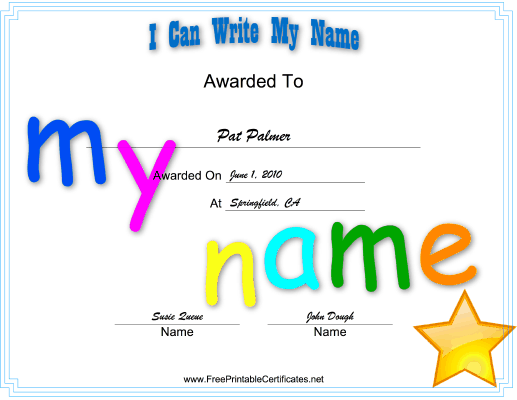 I Can Write Name certificate