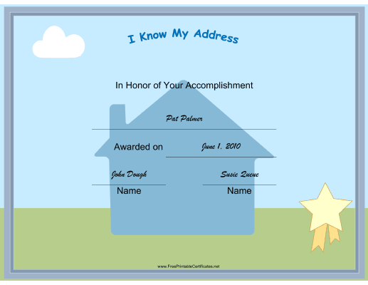 I Know My Address certificate