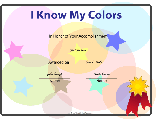 I Know My Colors certificate