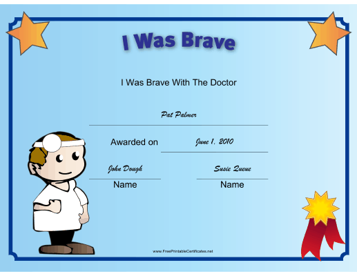 I Was Brave at the Doctor certificate