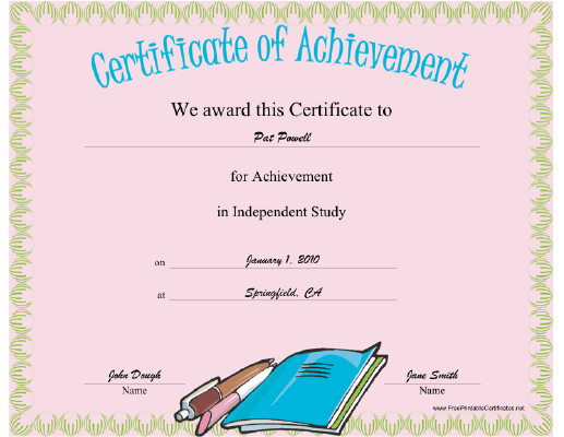 Independent Study certificate