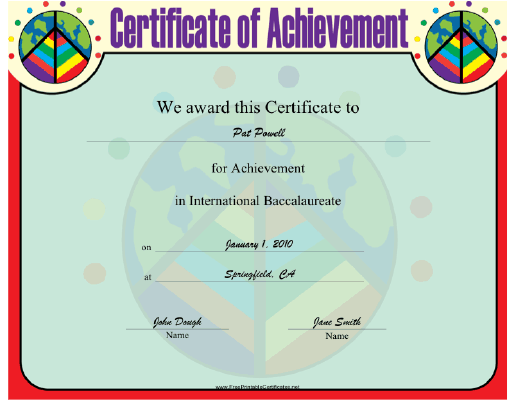 International Baccalaureate certificate