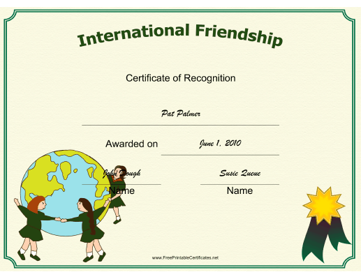 International Friendship certificate