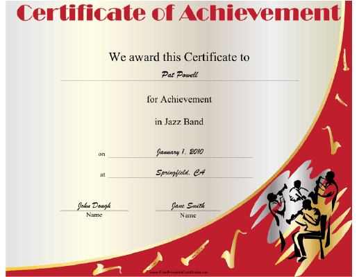Jazz Band certificate