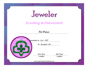 Jeweler Badge certificate