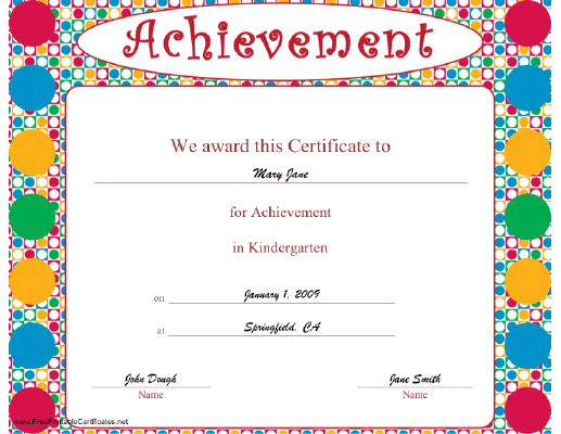 Achievement in Kindergarten certificate
