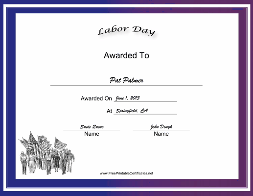 Labor Day Holiday certificate