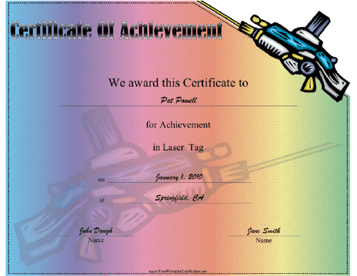 Laser Tag certificate