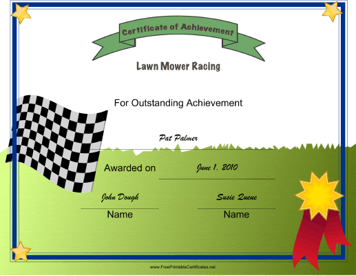 Lawn Mower Racing certificate