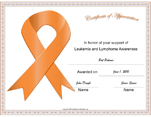 Leukemia Lymphoma Awareness Ribbon certificate